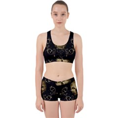 Golden Skull With Crow And Floral Elements Work It Out Sports Bra Set