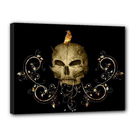 Golden Skull With Crow And Floral Elements Canvas 16  X 12
