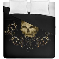 Golden Skull With Crow And Floral Elements Duvet Cover Double Side (king Size)