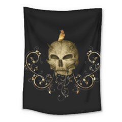 Golden Skull With Crow And Floral Elements Medium Tapestry