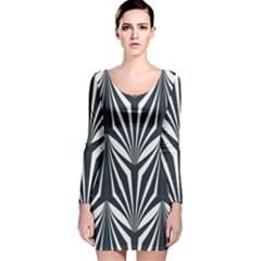 Art Deco, Black,white,graphic Design,vintage,elegant,chic Long Sleeve Velvet Bodycon Dress