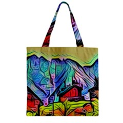 Magic Cube Abstract Art Zipper Grocery Tote Bag