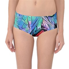 Magic Cube Abstract Art Mid Waist Bikini Bottoms