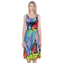 Magic Cube Abstract Art Midi Sleeveless Dress