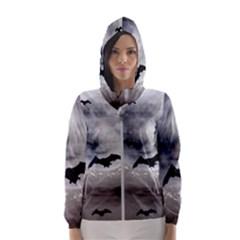 Bats On  The Moon Hooded Wind Breaker (women)
