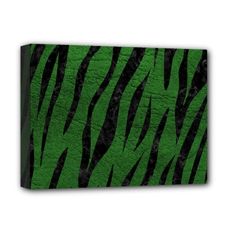Skin3 Black Marble & Green Leather (r) Deluxe Canvas 16  X 12