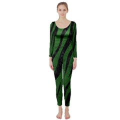 Skin3 Black Marble & Green Leather (r) Long Sleeve Catsuit