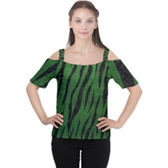 Skin3 Black Marble & Green Leather (r) Cutout Shoulder Tee