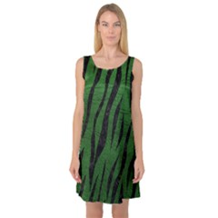 Skin3 Black Marble & Green Leather (r) Sleeveless Satin Nightdress