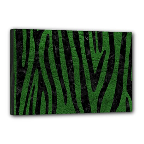 Skin4 Black Marble & Green Leather Canvas 18  X 12