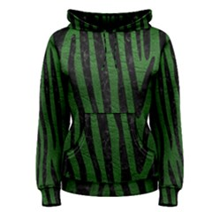 Skin4 Black Marble & Green Leather Women s Pullover Hoodie