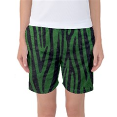Skin4 Black Marble & Green Leather Women s Basketball Shorts