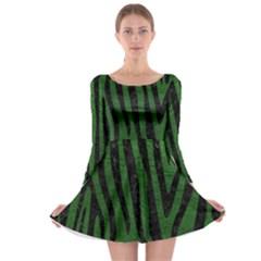 Skin4 Black Marble & Green Leather Long Sleeve Skater Dress