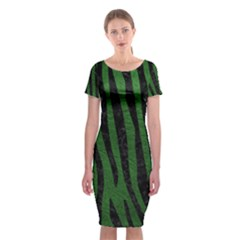 Skin4 Black Marble & Green Leather Classic Short Sleeve Midi Dress