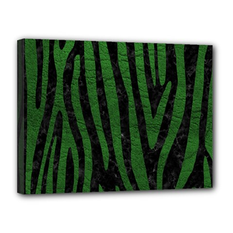 Skin4 Black Marble & Green Leather (r) Canvas 16  X 12