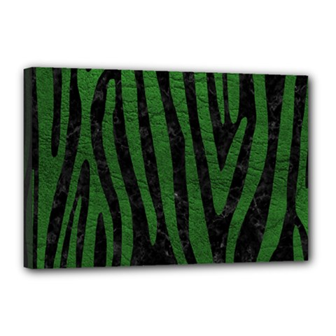 Skin4 Black Marble & Green Leather (r) Canvas 18  X 12