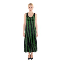 Skin4 Black Marble & Green Leather (r) Sleeveless Maxi Dress