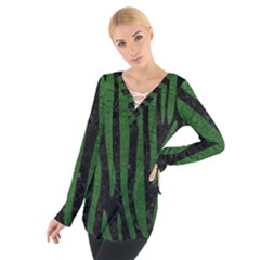 Skin4 Black Marble & Green Leather (r) Tie Up Tee