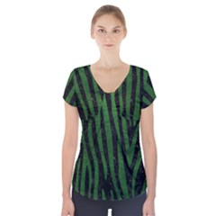 Skin4 Black Marble & Green Leather (r) Short Sleeve Front Detail Top