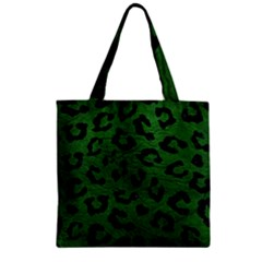 Skin5 Black Marble & Green Leather Zipper Grocery Tote Bag