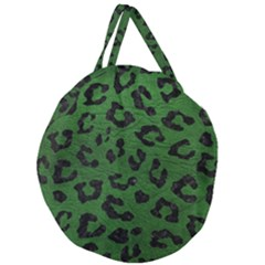 Skin5 Black Marble & Green Leather Giant Round Zipper Tote