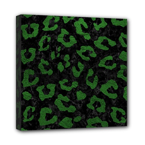 Skin5 Black Marble & Green Leather (r) Mini Canvas 8  X 8