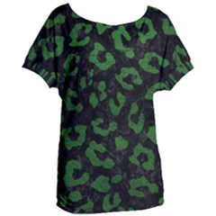 Skin5 Black Marble & Green Leather (r) Women s Oversized Tee