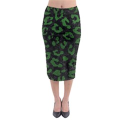 Skin5 Black Marble & Green Leather (r) Midi Pencil Skirt