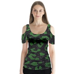 Skin5 Black Marble & Green Leather (r) Butterfly Sleeve Cutout Tee