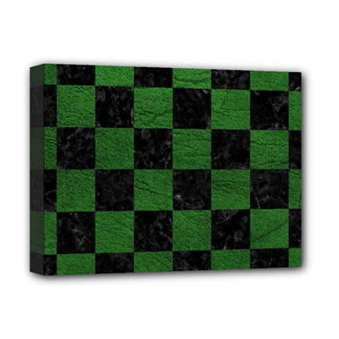 Square1 Black Marble & Green Leather Deluxe Canvas 16  X 12