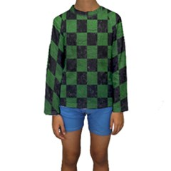 Square1 Black Marble & Green Leather Kids  Long Sleeve Swimwear