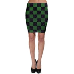 Square1 Black Marble & Green Leather Bodycon Skirt
