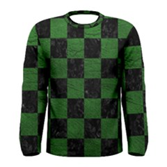 Square1 Black Marble & Green Leather Men s Long Sleeve Tee