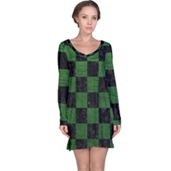 Square1 Black Marble & Green Leather Long Sleeve Nightdress