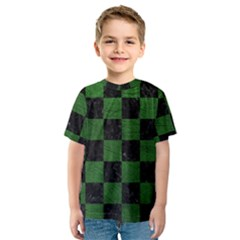 Square1 Black Marble & Green Leather Kids  Sport Mesh Tee