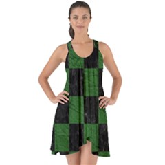 Square1 Black Marble & Green Leather Show Some Back Chiffon Dress