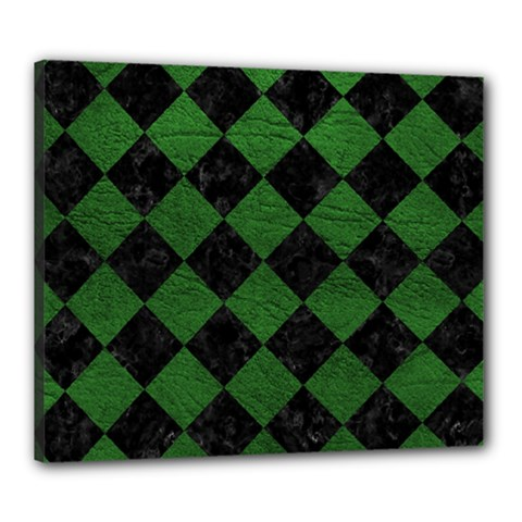 Square2 Black Marble & Green Leather Canvas 24  X 20