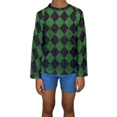 Square2 Black Marble & Green Leather Kids  Long Sleeve Swimwear