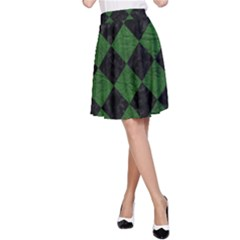 Square2 Black Marble & Green Leather A Line Skirt