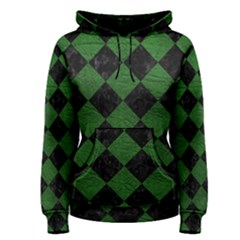Square2 Black Marble & Green Leather Women s Pullover Hoodie