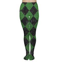 Square2 Black Marble & Green Leather Women s Tights