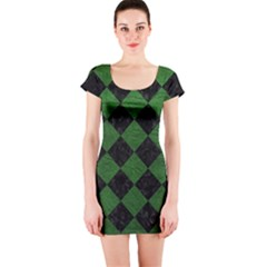 Square2 Black Marble & Green Leather Short Sleeve Bodycon Dress