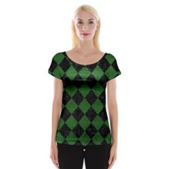 Square2 Black Marble & Green Leather Cap Sleeve Tops