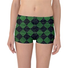 Square2 Black Marble & Green Leather Reversible Boyleg Bikini Bottoms