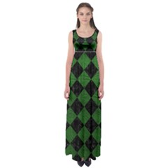 Square2 Black Marble & Green Leather Empire Waist Maxi Dress
