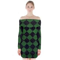 Square2 Black Marble & Green Leather Long Sleeve Off Shoulder Dress