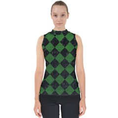 Square2 Black Marble & Green Leather Shell Top