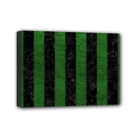 Stripes1 Black Marble & Green Leather Mini Canvas 7  X 5