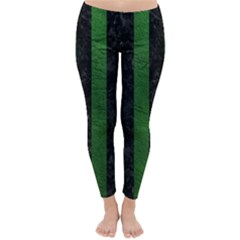 Stripes1 Black Marble & Green Leather Classic Winter Leggings