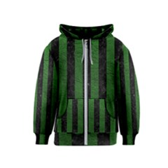 Stripes1 Black Marble & Green Leather Kids  Zipper Hoodie